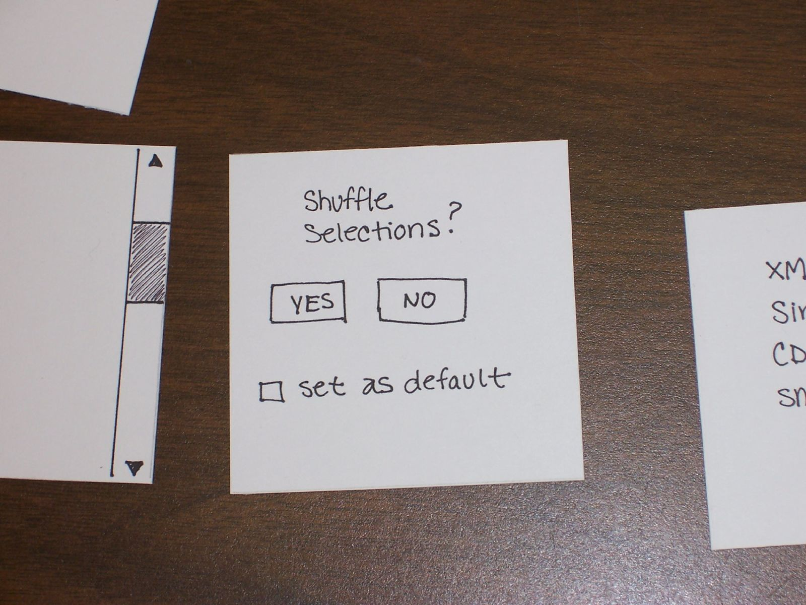 Paper prototype of dialog boxes