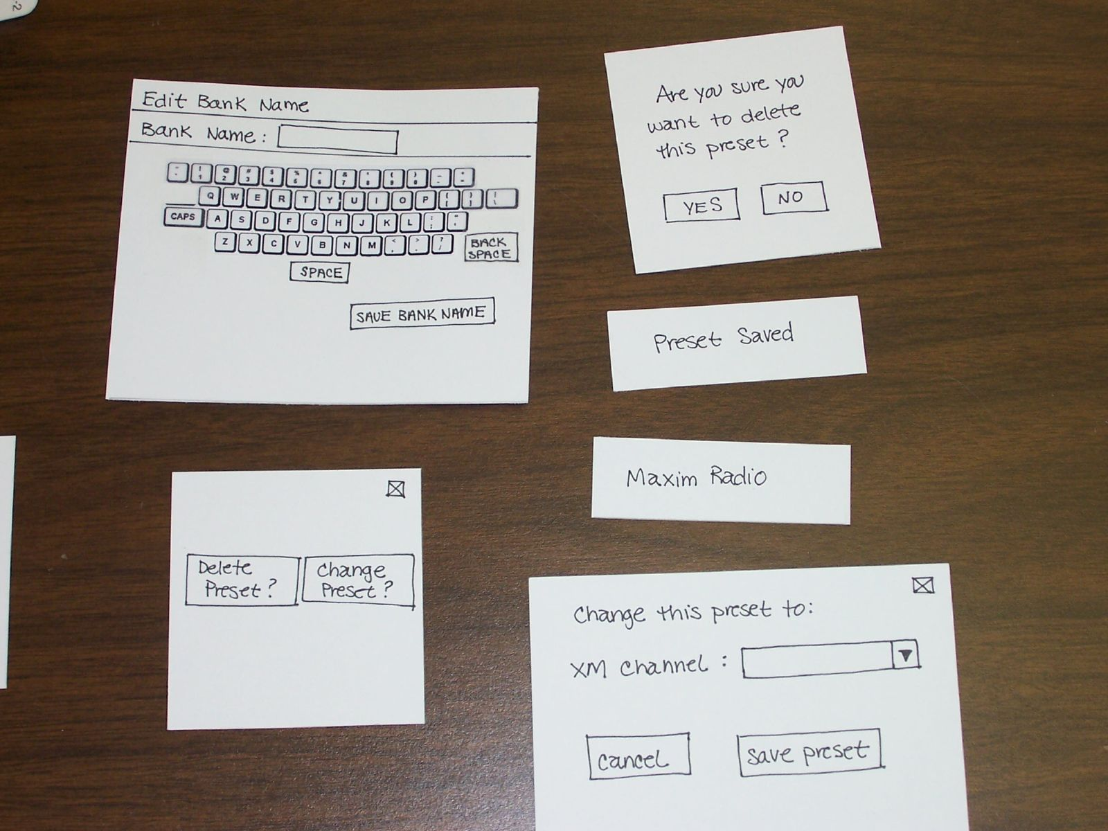 Paper prototype of qwerty keyboard and dialog boxes